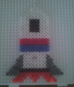 rocketship made from Hama Beads