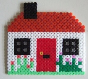 Make a cottage from hama beads